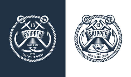 Template Marine emblem with anchors and frame of rope. Illustration