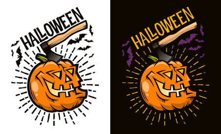 Halloween laughing pumpkin with an ax sticking out of its head - concept for postcard, poster,  invitation. Options for dark and light backgrounds. Vector illustration.