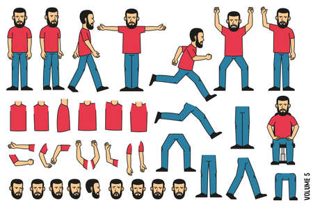 Bearded man constructor. Set of several poses and separate body parts in different positions. Faces with emotions.