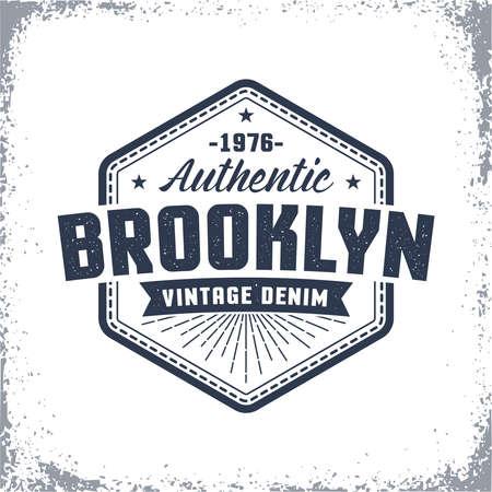 Brooklyn vintage logo z mocą grunge. Klasyczny miejski druk amerykański, etykieta, odznaka na ubrania. Logo