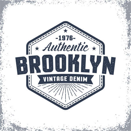 Brooklyn vintage logo with grunge effect. Classic urban American print, label, badge on clothes.