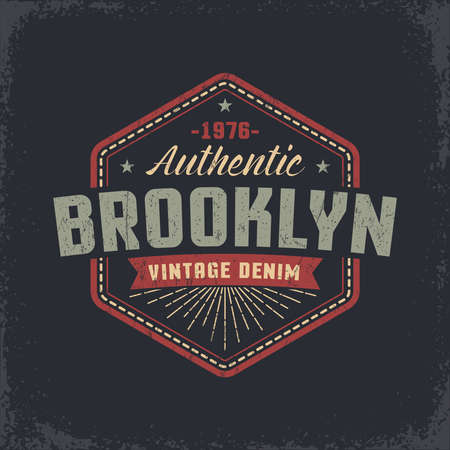 Authentic Brooklyn grunge retro design of the label, badge, print on the T-shirt. Worn texture on a separate layer and easily deactivated.