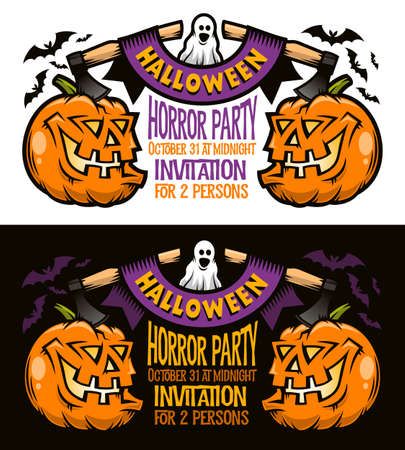 Template of Halloween invitation, postcard, poster - pumpkins jack-o-lantern with axes, retro ribbon, bats and ghost. Options for dark and light backgrounds. Vector illustration.