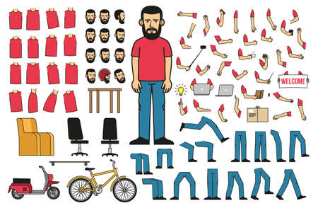 A set of body parts and objects to create a bearded man in a T-shirt and jeans in various poses. Vector illustration.
