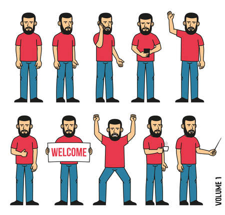 Set of 10 poses of  bearded man in  T-shirt and jeans. Person stands, uses  smartphone, welcomes, rejoices, drinks coffee and more. Can be disassembled into separate body parts.