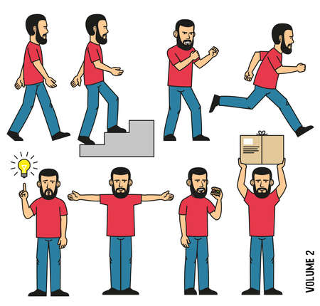 Man in jeans and  T-shirt goes, rises the steps, runs, stands in  boxing rack, eats sandwich, holds  parcel, comes up with an idea, outstretched arms  to the sides. Stock Vector - 86143905