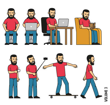 Man with beard sits, works on laptop, reads book in  chair, makes selfie, drinks coffee, rides longboard. Vector illustration. It can be easily disassembled  on body parts.