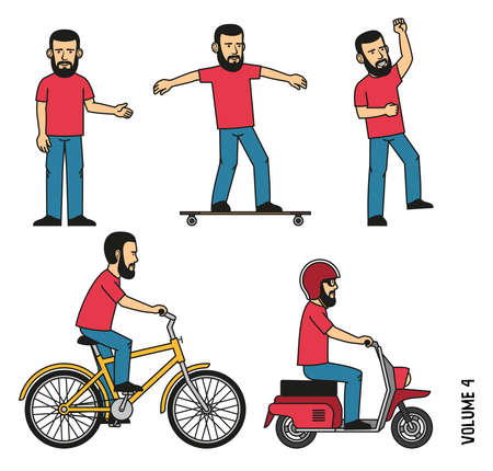 Bearded man in t-shirt and jeans makes welcome gesture, joyfully jumps up. Character is riding a longboard, bicycle, scooter. Illustration