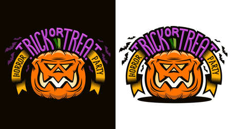 Halloween cartoon emblem - smiling pumpkin jack lantern with inscription Trick-or-treat. Options for dark and light background. Vector illustration.