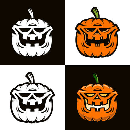 Smiling orange pumpkin is Halloween character in cartoon comic style. Four options - color and black and white. Vector illustration. Stock Vector - 86143910