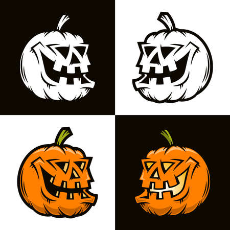 Halloween funny pumpkin in half-turn view - vector character. Color and black and white.