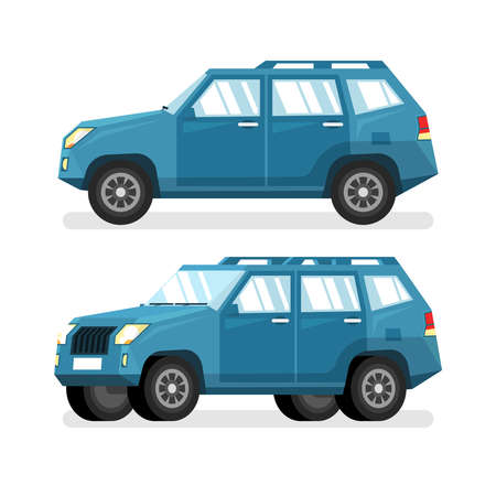 Blue SUV car in flat style - detailed vector illustration. A side view and in a half-turn.