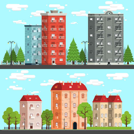 Cityscapes on a fine day. Houses, trees, fences, road, street lights. Vektor detailed illustration - two options. Illustration