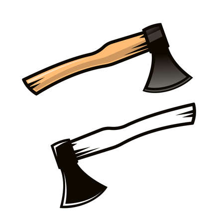 Carpenter axe in cartoon style. Color and black and white versions. Vector illustration. Illustration