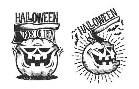 Dos halloween en estilo retro con calabaza y hacha saliendo de él. Efecto desgastado en una capa separada y se puede desactivar fácilmente. Foto de archivo - 89130414