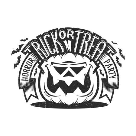 Trick or treat Halloween emblem in  vintage style with smiling pumpkin, ribbons, bat silhouettes and lettering. Worn effect on a separate layer and can be easily disabled. Иллюстрация