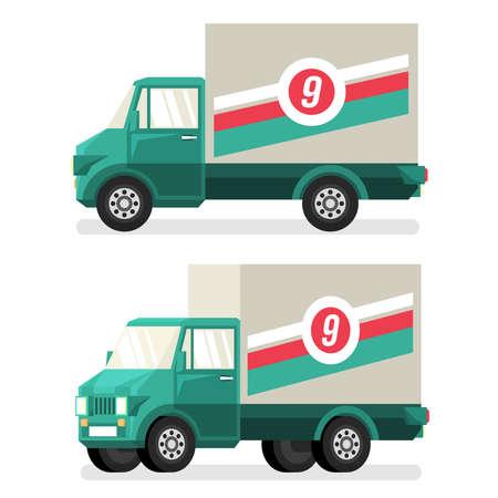 Groene kleine vrachtwagen in vlakke stijl, pseudo 3d. Gedetailleerde vectoriële illustratie - zijaanzicht en een halve draai. Stock Illustratie