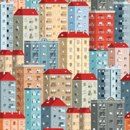 色のヨーロッパの超高層建物 - シームレスなパターン。Swathes パネルに含まれます。