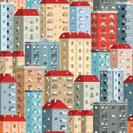 Colored European high-rise buildings - a seamless pattern. Included in swathes panel. Illustration