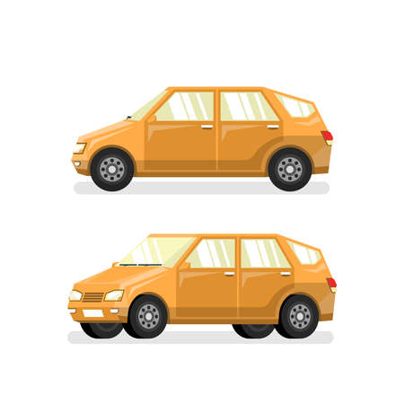 Yellow car hatchback in flat style. Vector detailed pseudo 3d illustration. Ilustração