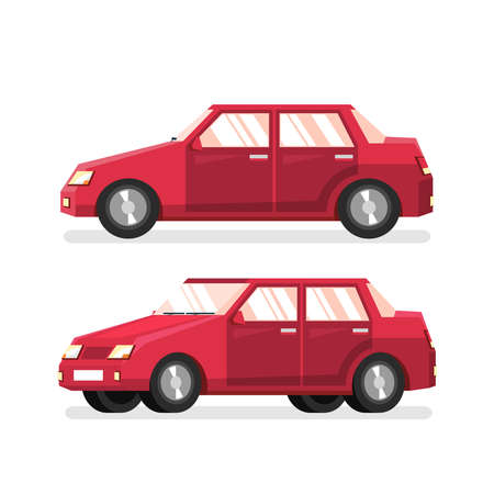 Red classic sedan - detailed vector illustration in a flat style. Car is a side view and a half turn.