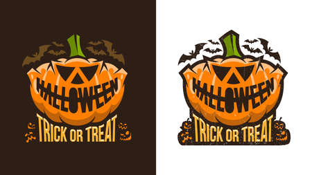 Unusual vintage halloween logo with pumpkin and lettering. Variants for dark and light backgrounds. Worn texture on  separate layer and can be easily disabled. Illustration