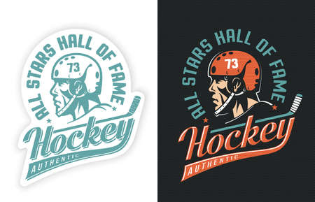Stylish sports retro with hockey player, stick and inscription. Two options - sticker on white and colored emblem on black background. Dot texture is grouped separately and can be easily removed. Illustration