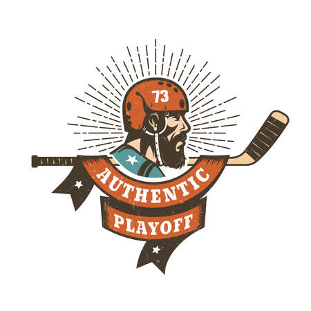 Authentic retro hockey playoff logo, mascot - bearded player, stick and heraldic ribbon with the inscription. Worn texture on  separate layer and can be easily disabled.