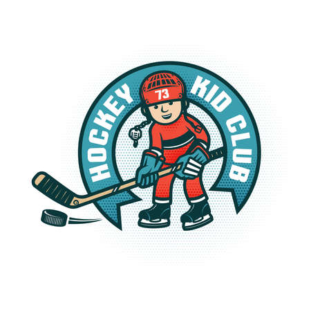 Childrens hockey club with  boy in the form and helmet. Halftone dots are grouped and easily removed if necessary.