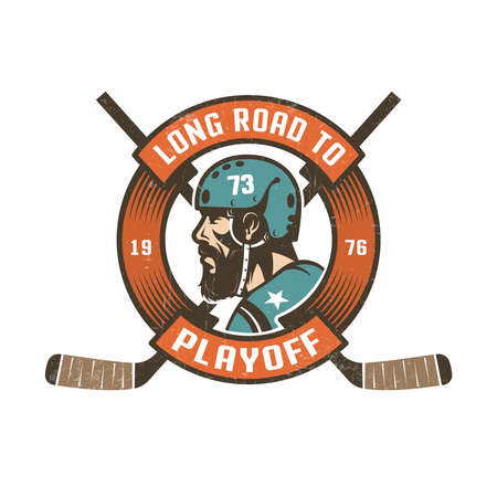 Hockey playoff logo with bearded players head in retro helmet,  circular ribbon and crossed sticks. Worn texture on  separate layer and can be easily disabled.