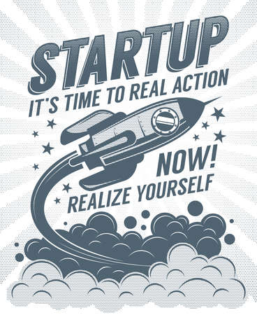 Startup retro poster with a rising rocket and halftone dots print vintage effect.  Illustration