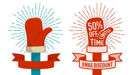 Hand Santa Claus in red mitten - a composition with ribbon and inscriptions for Christmas discounts. Two options -  flat color and  retro halftone dots  illustration.