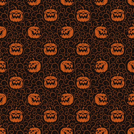 Halloween seamless pattern with orange pumpkins and patterns on dark background. Included in swatches panel.