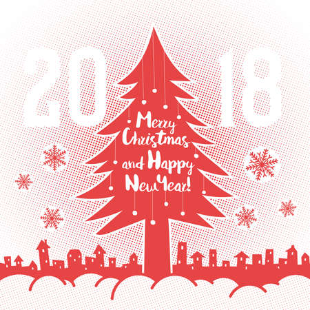 Christmas tree on a background of snowdrifts, snowflakes and  city. Greeting card in retro style with halftone dots.