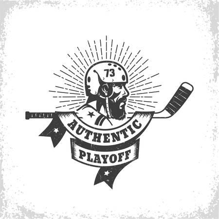 Old school vintage hockey symbol