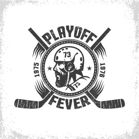 Hockey symbol in vintage style with head of player and crossed sticks Illustration