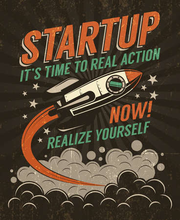 Startup retro poster with a rising rocket on a dark background. Worn texture on  separate layer and can be easily disabled.