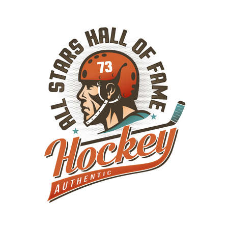 Authentic vintage hockey emblem with players head