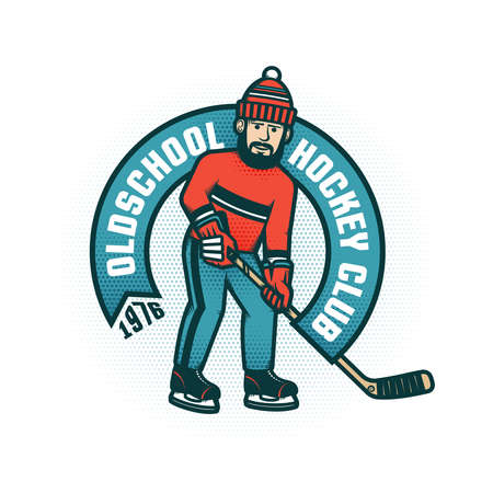 Hockey retro emblem for amateur club with bearded man