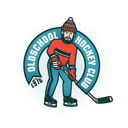 Hockey retro emblem for amateur club with bearded man