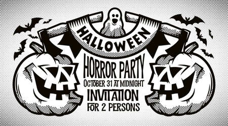 Halloween retro black-and-white invitation, card with pumpkins, axes, ribbon and inscriptions. Halftone vector illustration.