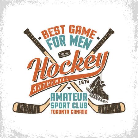Hockey vintage logo met inscripties, gekruiste stokken, retro skates. Versleten textuur op afzonderlijke laag en kan gemakkelijk worden uitgeschakeld. Stock Illustratie