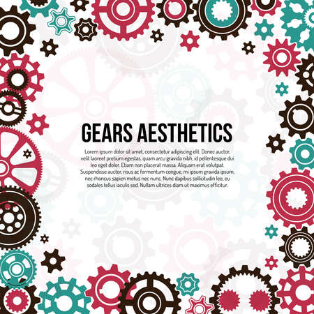 Frame template of colored gears and cogwheels in various sizes and shapes