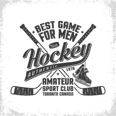 Hockey retro emblem for team or sport club with grunge effect.  Worn texture on  separate layer and can be easily disabled. Ilustracja