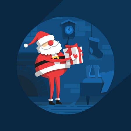 Santa Claus at night puts  gift near the bed of sleeping man - Christmas flat illustration.