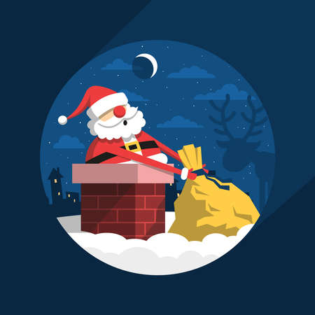 Santa Claus Christmas night on the roof climbs into the chimney with  bag of gifts. Zdjęcie Seryjne - 90106278