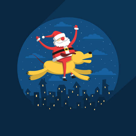 Santa Claus flies on a yellow dog over the night city. 向量圖像