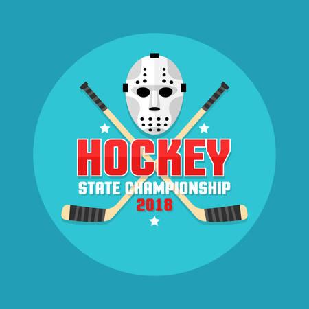 Hockey emblem with retro flat goalie mask and crossed sticks. Illustration