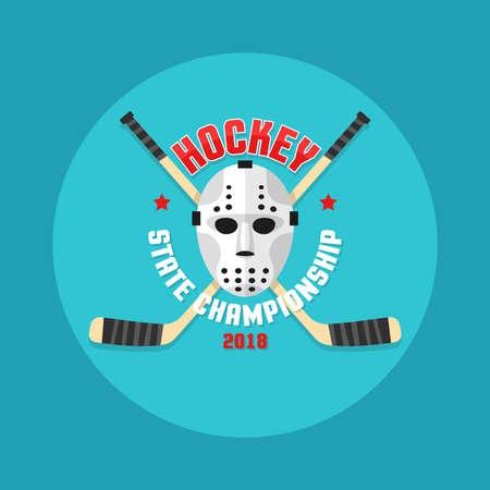 Hockey in een vlakke stijl met een keepersmasker en gekruiste stokjes.