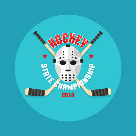 Hockey in a flat style with a goalkeepers mask and crossed sticks.